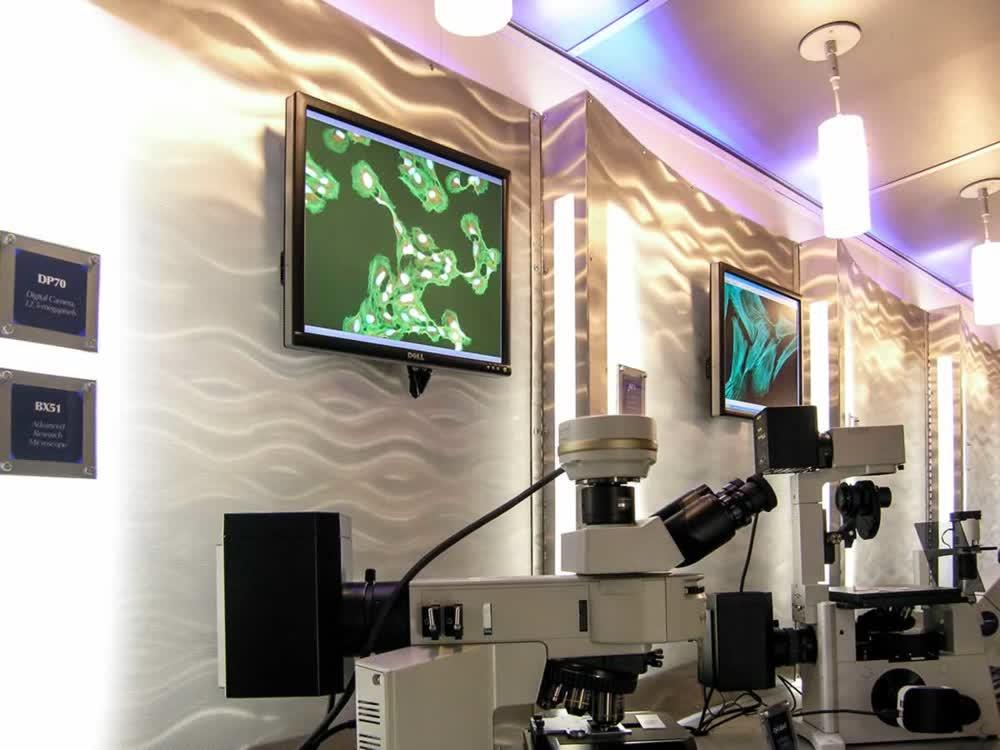 olympus microscope mobile medical trailer