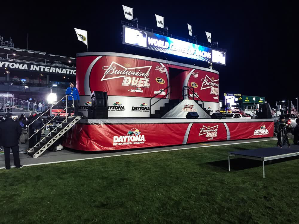 budweiser duel mobile stage trailer