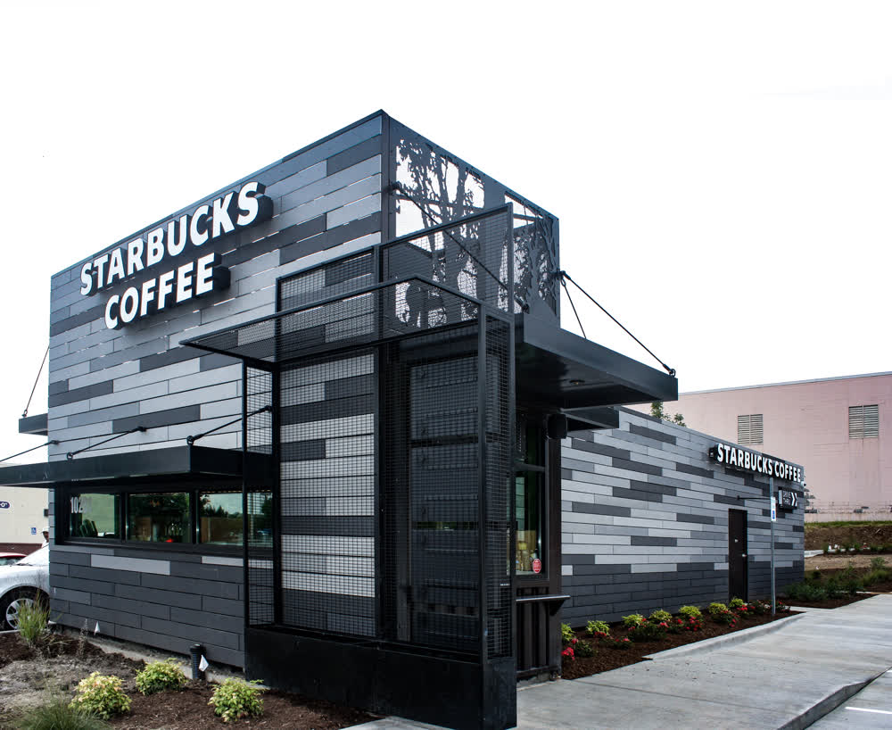 starbucks coffee shipping container conversion