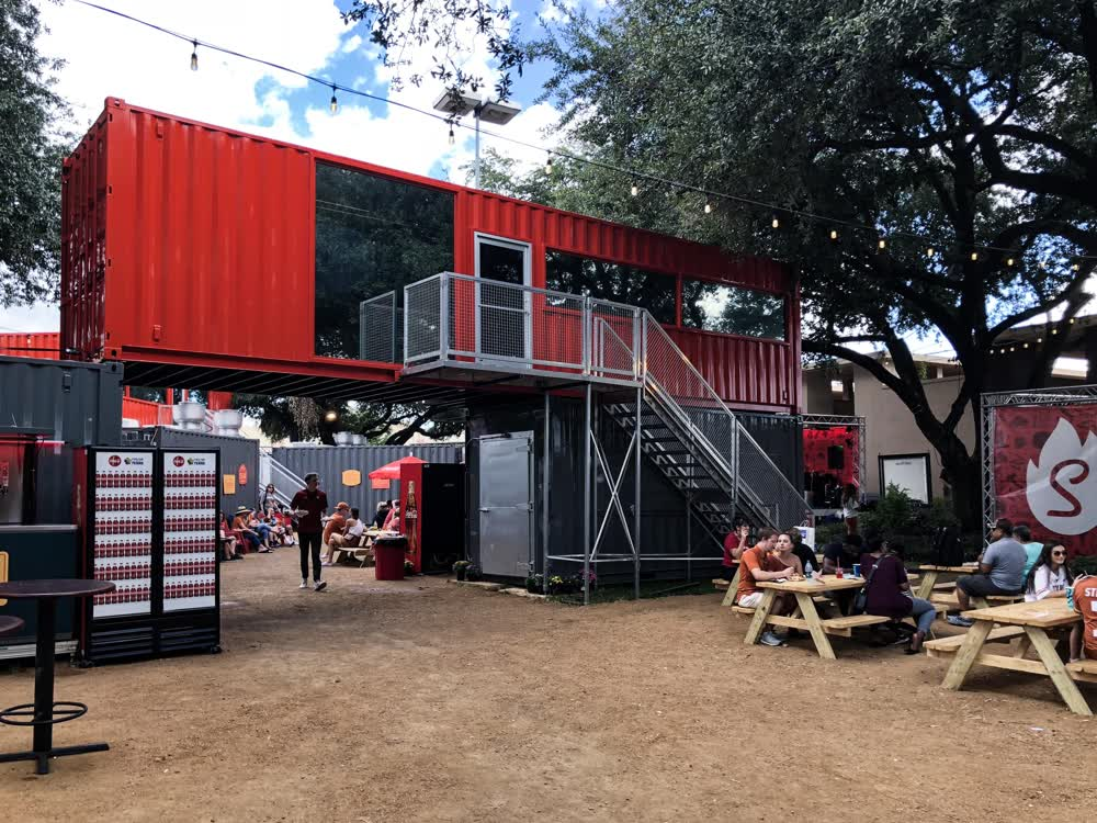 outside shipping container restaurant