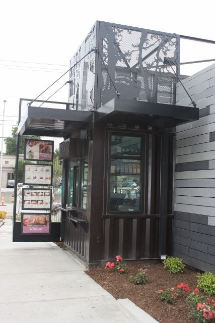 starbucks drive through shipping container restaurant