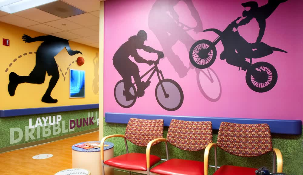 childrens hospital waiting room wall decals graphics