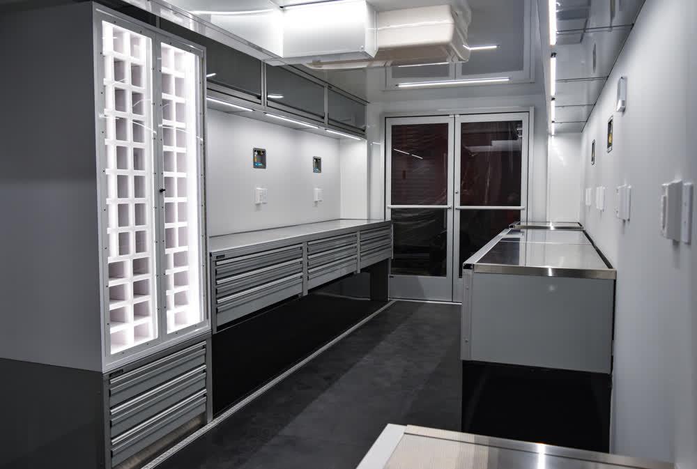 interior of race car trailer