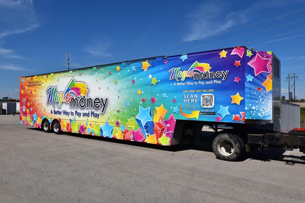 magic money mobile billboard truck trailer