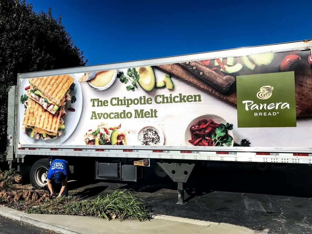 panera bread mobile billboard truck trailer