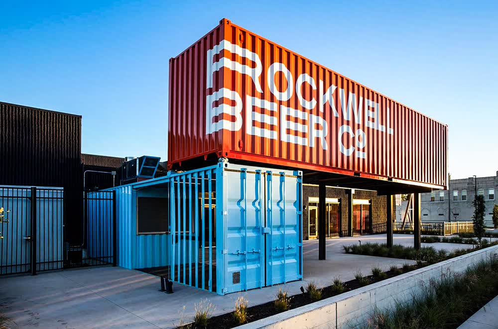 rockwell brewery shipping container restaurant