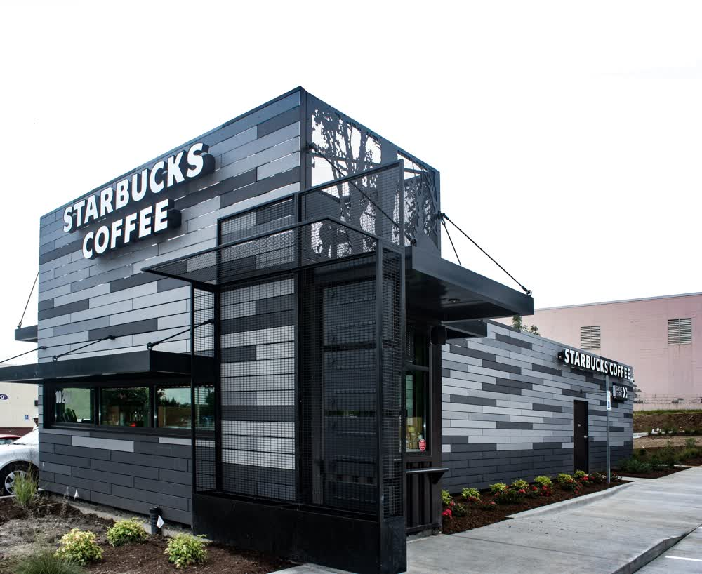 starbucks coffee shipping container restaurant