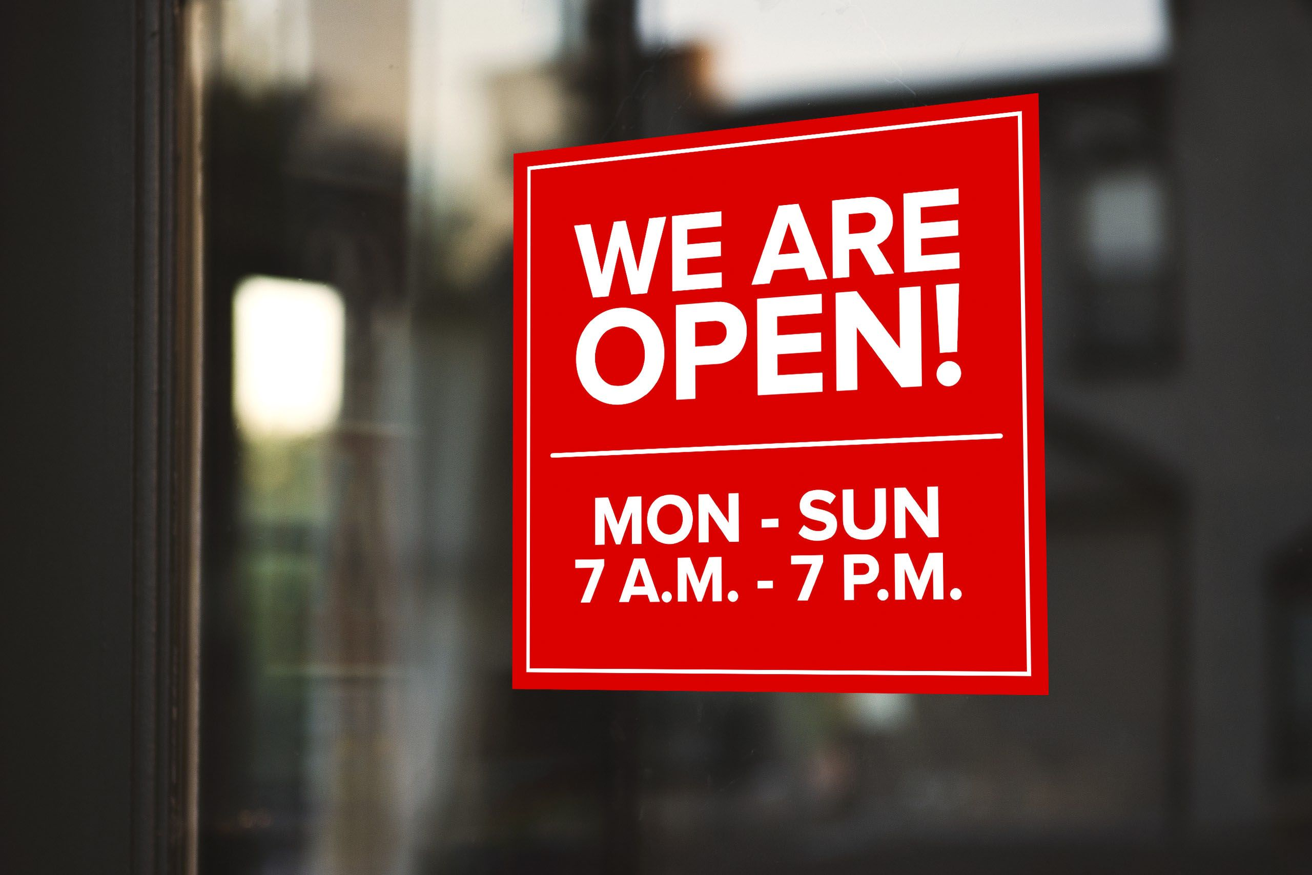 we are open window decal